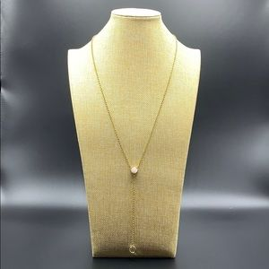 LOFT long gold necklace with pink and clear stones